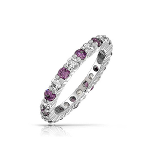 925 Sterling Silver Eternity Band Prong Setting CZ Rings YCR063
