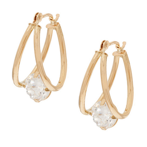 Hot Selling Gold Plated 8mm CZ Oval Hoop Earring YCE2318