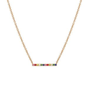18 Gold Plate Bar Rainbow Necklace 925 Sterling Silver YCN6852