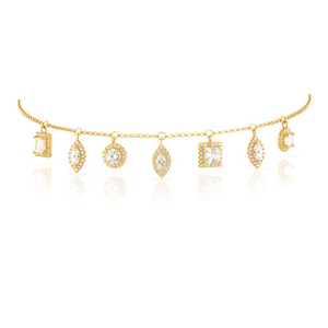 CZ Shapes Drop Geometric Choker Necklaces YCN6704