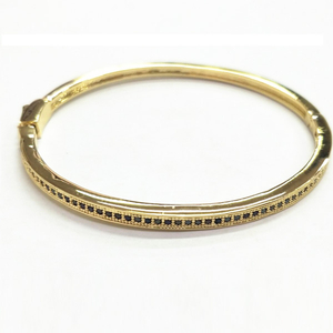 Wholesale Silver Bangle With Black CZ YCB498