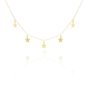 Delicate 14K Gold Tiny Star Charm Necklace YCN229