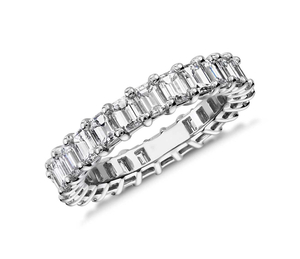 Small White Gold 925 Sterling Silver Emerald Eternity Band Prong Setting Rings