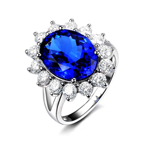 Sapphire Blue and White CZ 925 Silver Rings Jewelry YCR1555