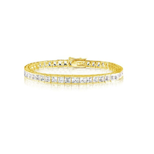 Gold Plated 925 Sterling Silver Square CZ Bracelet YCB006