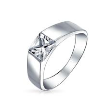 Princess CZ 925 Sterling Silver Men Engagement Rings YCR3401