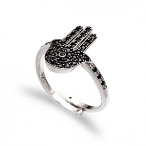 Adjustable Black Cubic Zircon Hand Shaped Rings YCR3663