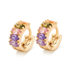 Gold Plated Multicolor CZ Silver Huggie Earring YCE2122