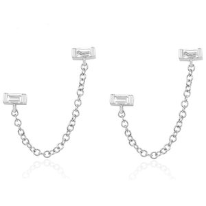 Silver Baby Baguette Double Studs YCE2695