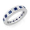 Princess Blue & White Cubic Zircon Eternity Band Rings YCR3574